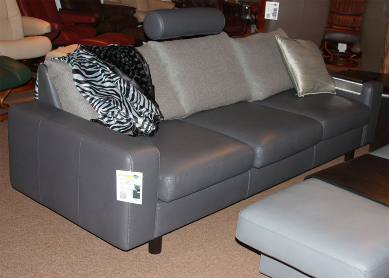 Stressless E200 3 Seat Sofa With Leather Sofa Ergonomic Sectional Couch  With Separate Cushions By Ekornes