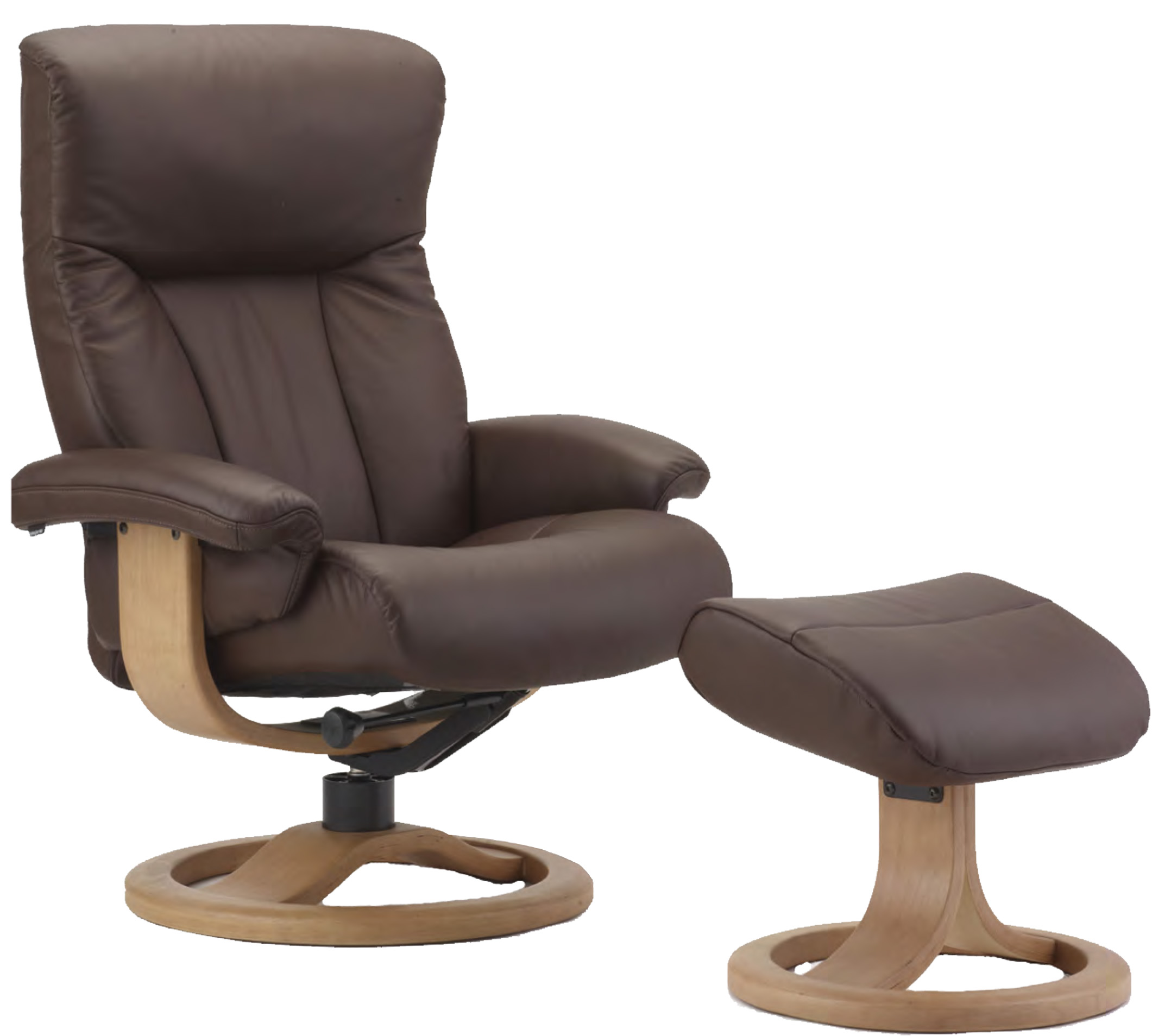 Fjords Scandic Ergonomic Leather Recliner Chair Ottoman Scandinavian Norweg