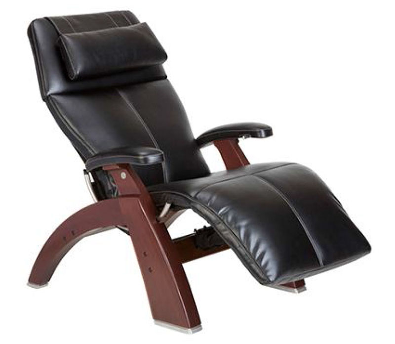 Black SofHyde Vinyl Chestnut Wood Base Series 2 Classic Perfect Chair Zero  Gravity Power Recliner By
