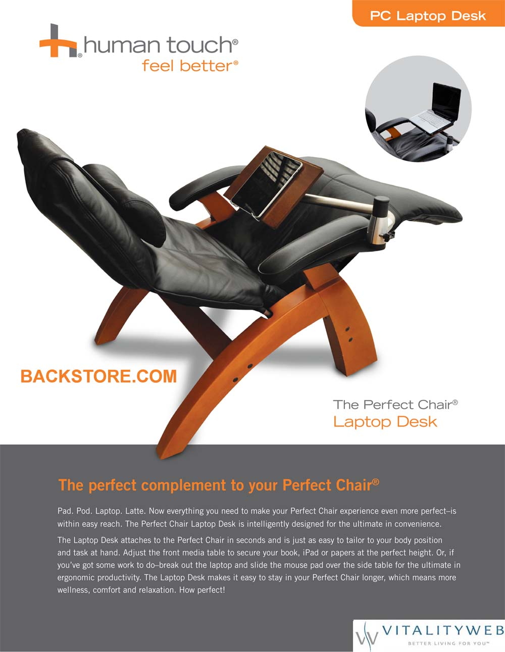 Perfect Chair Pc Laptop Computer Desk Table For The Perfect Zerogravity Chair By Human Touch Computer Table Laptop Table